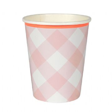 Pink Gingham Paper Cups